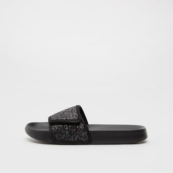 Solid Slides with Embellished Strap