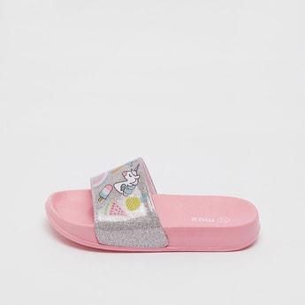 Unicorn Print Beach Slippers