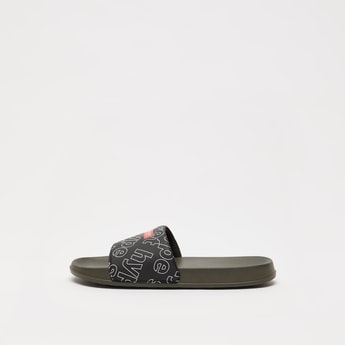 Slip-On Typographic Print Slippers