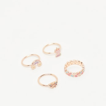 Pack of 4 - Studded Colourful Finger Rings