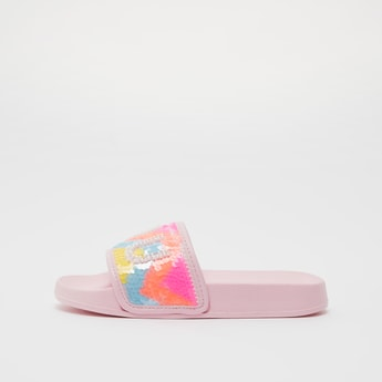 Solid Slides with Sequin Detail Strap