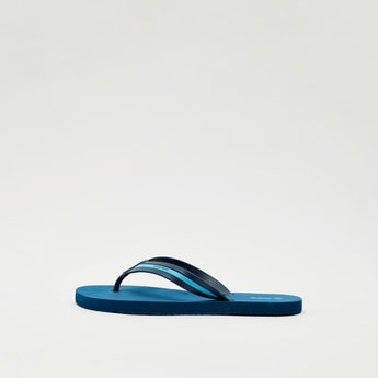 Text Print Flip-Flops with Textured Straps