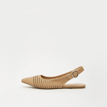 Patterned Backstrap Sandals with Flat Heels and Pin Buckle Closure