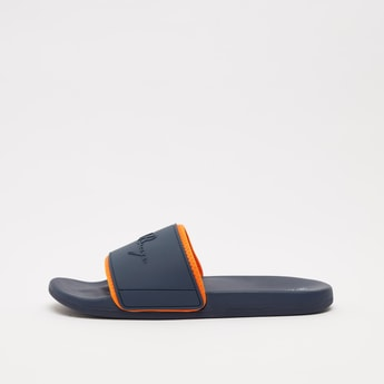 Slip-On Slippers with Slogan Embossed Midsole Strap
