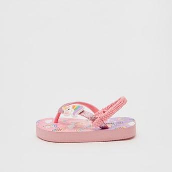 Unicorn Print Flip Flops with Applique Detail Straps and Slingback