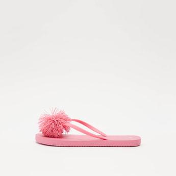 Solid Flip Flops with Pom Pom Applique Detail