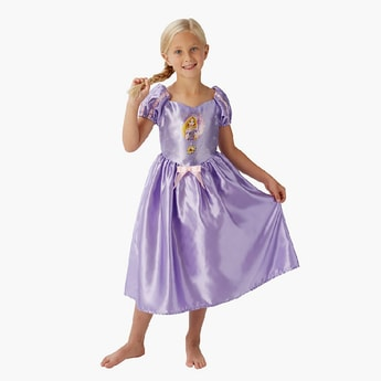Rapunzel Costume Dress with Puff Sleeves and Bow Detail