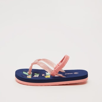 Printed Flip Flops with Elasticised Strap