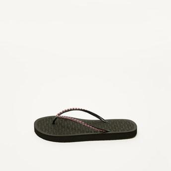 Embellished Flip Flops with Textured Footbed