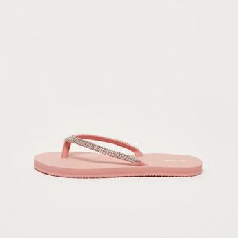 Embellished Slip-On Flip Flops