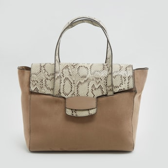 حقيبة يد بطبعات حيوانات بمقابض مزدوجة