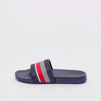 Textured Slides with Striped Vamp Band