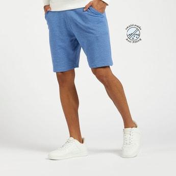 Ribbed Mid-Rise Knit Shorts with Pocket Detail and Drawstring Closure