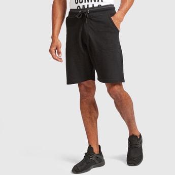 Solid Shorts with Drawstring Closure and Tipped Rib