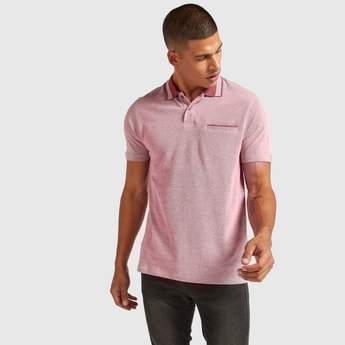 Solid Polo T-shirt with Short Sleeves and Welt Pocket