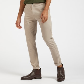 Skinny Fit Solid Chinos with Pockets and Belt Loops