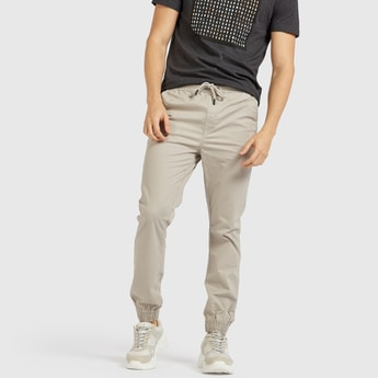 Solid Full Length Cotton Joggers with Drawstring Closure