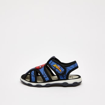 Spider-Man Print Sandals with Hook and Loop Closure