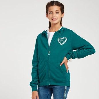 Printed Zipper Front Hoodie with Long Sleeves and Pockets