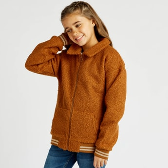 Textured Jacket with Collared Neck and Long Sleeves