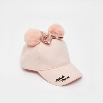 Minnie Mouse Embroidered Cap with Sequin Detail Bow Applique