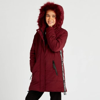 Quilted Hoodie Jacket with Tape Detail and Pockets
