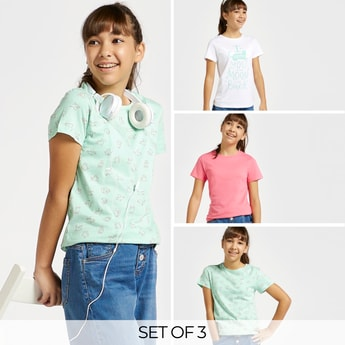 Set of 3 - Assorted T-shirt with Round Neck and Short Sleeves