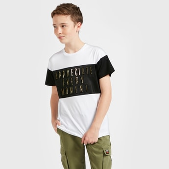 Foil Embossed T-shirt with Round Neck and Short Sleeves