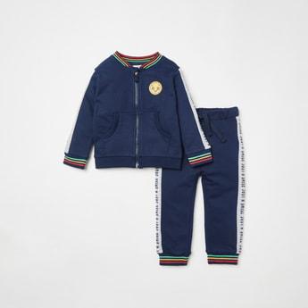 Stripe Detail Long Sleeves Jacket with Full Length Jog Pants Set
