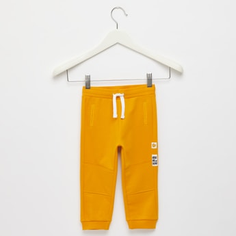 Solid Jog Pants with Trim Stitch Detail and Drawstring