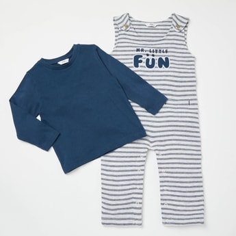 Solid Knit Long Sleeves T-shirt with Full Length Striped Dungarees