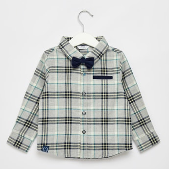Checked Long Sleeves Shirt with Button Front Closure