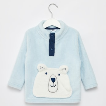 Textured High Neck Sweatshirt with Long Sleeves and Arctic Bear Pocket