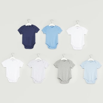 Set of 7 - Solid Bodysuit with Round Neck and Short Sleeves
