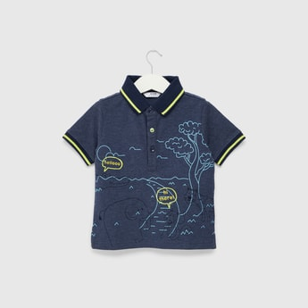 Animal Embroidered Polo T-shirt with Short Sleeves and Button Closure