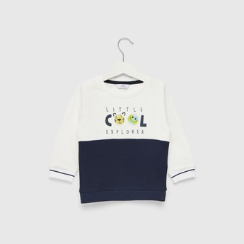 Embroidered Detail Sweatshirt with Round Neck and Long Sleeves