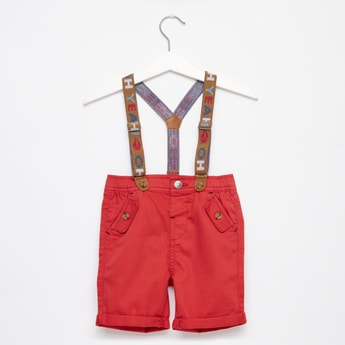 Solid Knee-Length Shorts with Button Closure and Suspender