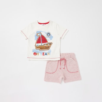 Embroidered Detail Short Sleeves T-shirt with Textured Shorts Set
