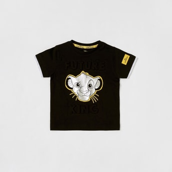 The Lion King Printed T-shirt with Round Neck and Short Sleeves