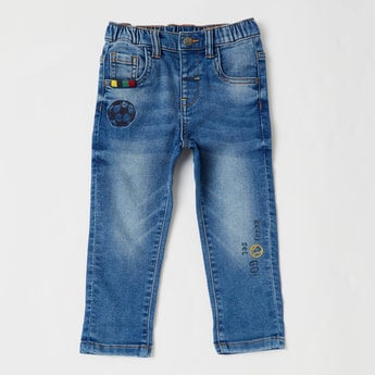 Embroidered Jeans with Pocket Detail and Belt Loops