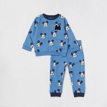 All-Over Mickey Mouse Print Sweatshirt and Jog Pants Set