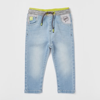 Solid Mid-Rise Denim Jeans with Pockets and Drawstring