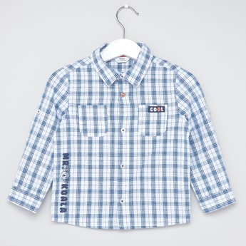 Chequered Shirt with Long Sleeves and Button Tab