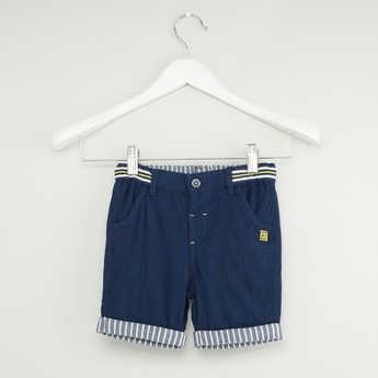 Stripe Detail Shorts with Pockets and Button Closure