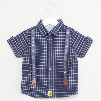 Chequered Shirt with Suspenders and Short Sleeves