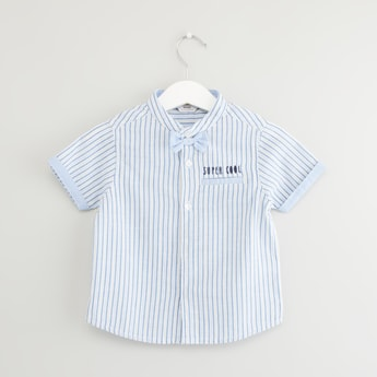 Striped Shirt with Bow Applique and Short Sleeves