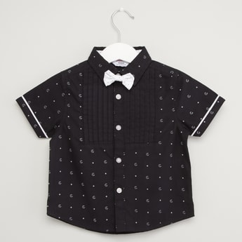 Collared Print Shirt with Bow Applique and Short Sleeves