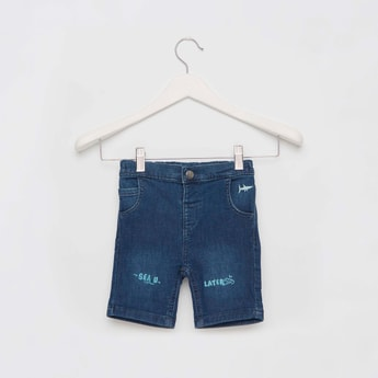Printed Denim Shorts with Pockets and Button Closure