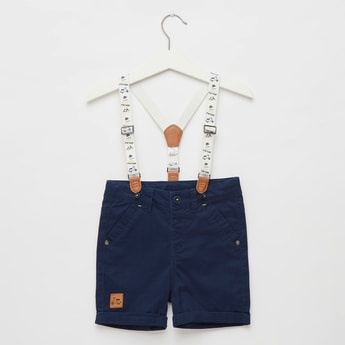 Woven Suspender Shorts with Button Closure and Pockets