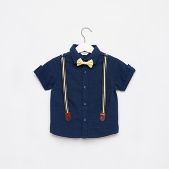 Dots Print Shirt with Suspenders and Short Sleeves
